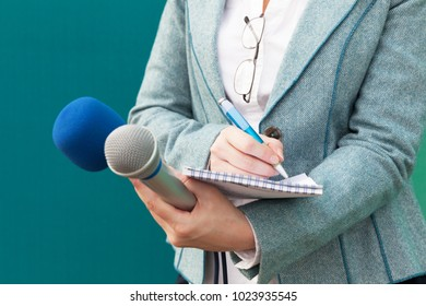 Journalist. Media interview. News conference.