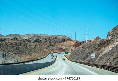 Journey to Hoover Dam. Highway in Nevada