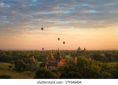 Journey of hot air ballon over pagodas in Bagan
