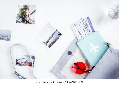 journey planning with tourist outfit on white table background t