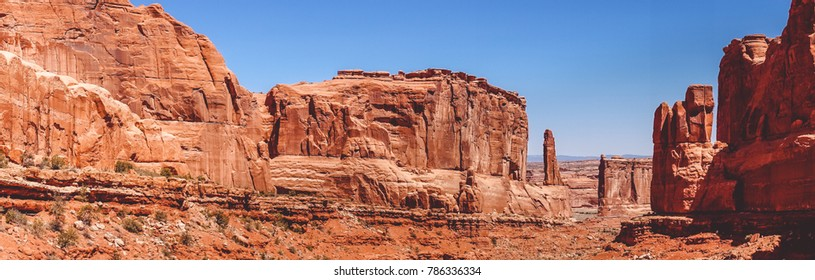Journey to the southwest of the USA. Panorama of the Arches National Park