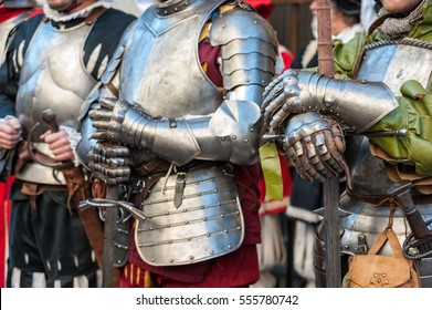 The joust of Medieval knights in body armor and big swords,during historical reenactment in Florence