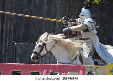 Jousting knight on horseback seen at an medieval show at the parc called Les Aigles Du Leman in Sciec, France. The photo was taken on the 5th of June 2015.