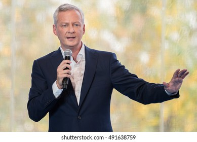 JOUY EN JOSAS, FRANCE - AUGUST 31, 2016 : Bruno Le Maire in conference during the summer university of the Medef, the Movement of the Enterprises of France the largest employer federation in France.