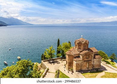 Jovan Kaneo Church on beautiful sunny day at Lake Ohrid, Macedonia.