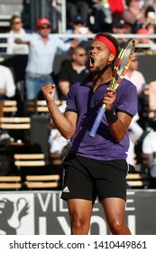 Jo-Wilfried Tsonga (FRA) celebrates win the match during the Open Parc Auvergne-Rhone-Alpes Lyon 2019, ATP 250 Tennis tournament on May 22, 2019 at Parc de la Tete d'Or in Lyon, France