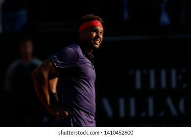 Jo-Wilfried Tsonga (FRA) from shadow to light during the Open Parc Auvergne-Rhone-Alpes Lyon 2019, ATP 250 Tennis tournament on May 22, 2019 at Parc de la Tete d'Or in Lyon, France