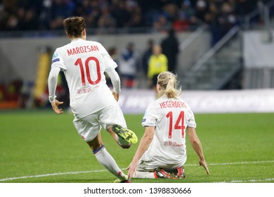 Joy Ada Hegerberg of Lyon and Dzsenifer Marozsan of Lyon during UEFA Women's Champions League quarter final Olympique Lyonnais vs FC Barcelona 3,22,2018 Groupama stadium Decines Charpieu Lyon France