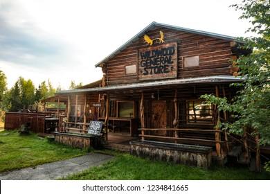 Joy, Alaska - Aug 18, 2018: A view of Joe and Nancy Carlson's Wildwood General Store  (a.k.a. Arctic Circle Trading Post) in Joy Alaska, USA.