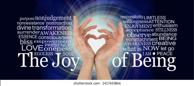 The Joy of Being word cloud - pair of female hands making a heart shape against a white rotating vortex surround by words relevant to the Joy of Being spiritual concept