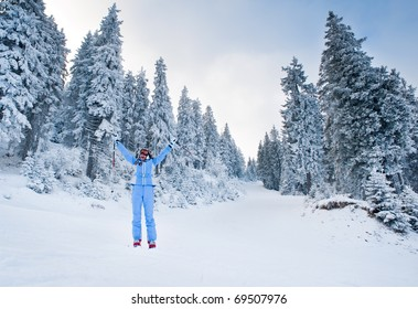 joy of skiing on snow-covered slopes among the firs in the forest