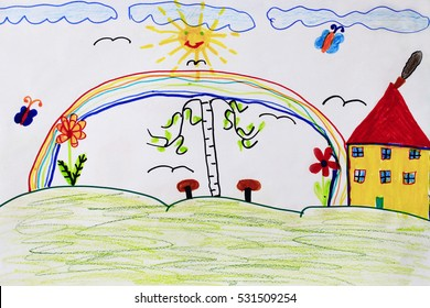 joy summer children's drawing with butterflies birch house rainbow and flowers