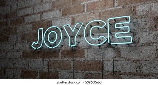 JOYCE - Glowing Neon Sign on stonework wall - 3D rendered royalty free stock illustration.  Can be used for online banner ads and direct mailers.