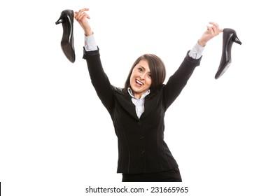 Joyful attractive office worker after work