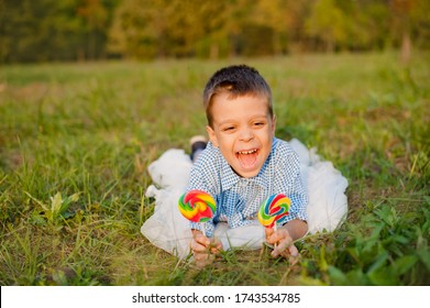 Joyful boy of 6 years with candy. The cheerful child lies on a green grass in the summer with a bright big candy on a stick.