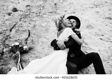 Joyful bride and groom on their wedding