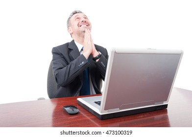 Joyful broker looking up and praying for the market to increase isolated on white background