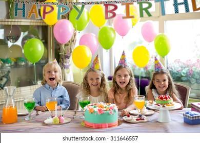 Joyful children at a birthday party