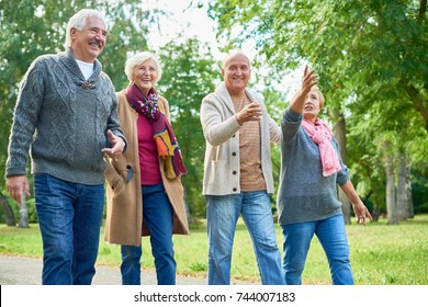Joyful elderly friends enjoying picturesque view while walking along park alley, pretty woman pointing at something while her handsome husband embracing her gently