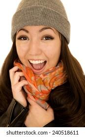 Joyful excited Asian American model in beanie