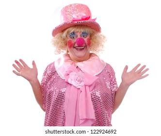 Joyful female clown costume on a white background