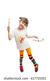 joyful girl with a brush and palette with paints, isolated on white background