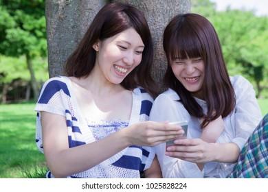 Joyful of japanese girl students