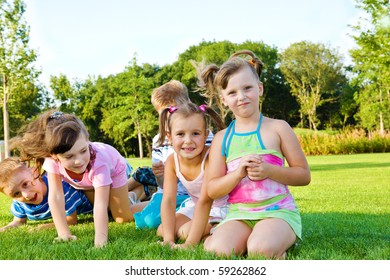 Joyful kids playing in the outdoor