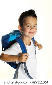 joyful little boy ready for school, back to school or ready for travel concept
