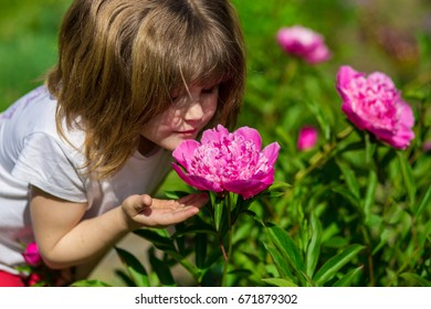 Joyful little girl sniff flowers on a summer sunny day