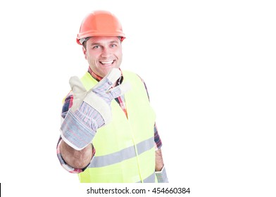 Joyful male builder showing number three or third isolated on white studio background with copy space