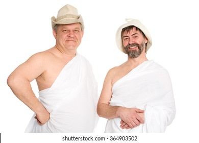 Joyful men in bathing costumes. From a series of Russian bath.