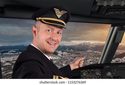 Joyful pilot in cockpit