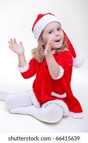 joyful santa girl on white