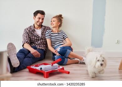 Joyful scene of happy couple