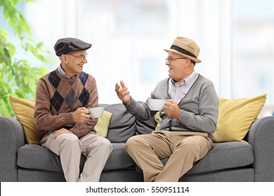 Joyful seniors sitting on a sofa and talking