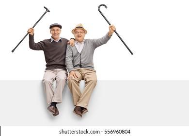 Joyful seniors with walking canes sitting on a panel isolated on white background