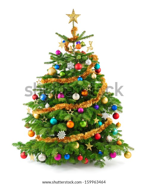Colorful Christmas Tree Images.Joyful Studio Shot Christmas Tree Colorful Stock Photo Edit