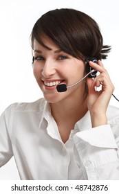 joyful woman operator with headset - microphone and headphones, on white