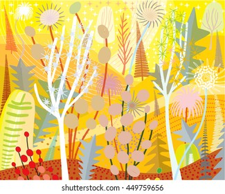Joyful Yellow Landscape of Plants in Summer Abstract