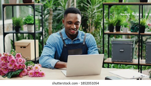 Joyful young man in flower shop sitting at workplace and texting on computer. Cheerful African American male florist worker in floral house tapping and typing on laptop. Floristry concept