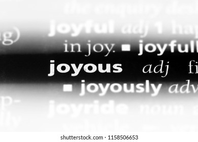 joyous word in a dictionary. joyous concept.