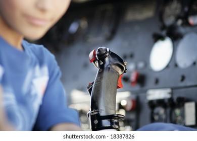 joystick controller inside of an airplane