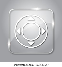 Joystick icon. Transparent internet button on grey background.