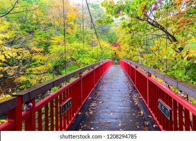 Jozankei Futami Suspension Bridge and Autumn maple forest in Jozankei Onsen, The most popular tourist attraction to Hokkaido. Japan