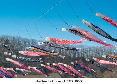 "Jozankei Hokkaido ,Japan 2018 May 5. An Image of Carp Streamer carp streamers ""Koinobori"", japanese traditional festival of Children's Day."