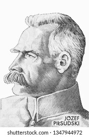 Jozef Pilsudski portrait from Polish money  10 Polish zloty bank note. Zloty is the national currency of Poland. Close Up UNC Uncirculated - Collection.