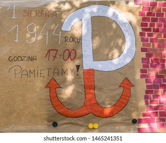 Jozefow, Poland - August 1, 2018:  Anniversary of the Warsaw Uprising. Polish symbols.' 1 st Auugust 1944  5 p.m.- we remember'