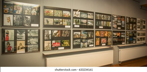 Jozefow, Poland - February 02, 2017: Exhibition of photographs on the wall in the Municipal Cultural Centre