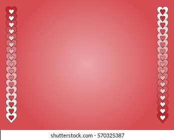 Jpeg gradient valentine background with red and white hearts.
